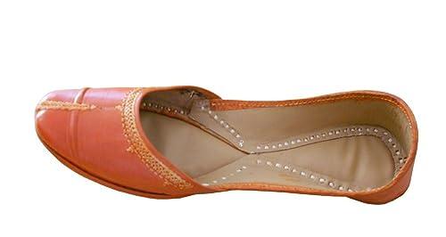 Kalra Creaciones de la Mujer Zapatos de Cuero Tradicional Indio étnico, Color Naranja, Talla