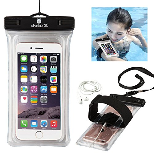 uFashion3C Universal Waterproof Case Bag Pouch [Floating] [with Audio Headphone Jack,Armband,Lanyard] for iPhone 6/6S,6/6S Plus,S5/S6,Note 5/4,LG G4/G3 [IPX8 Certified to 100 Feet](Clear)