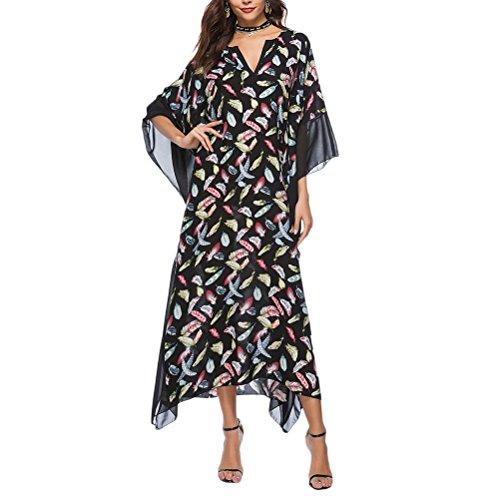 2 Swimwear Lightweight Maxi Long Covers Women Black Zhhlinyuan 4 for Clothes Sleeve Boho Dresses 3 Women's Dress aSwqA5