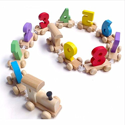 Wood Train Figure Model Toy with Number Pattern 0~9 Gift for Baby & Kids Early educational toy