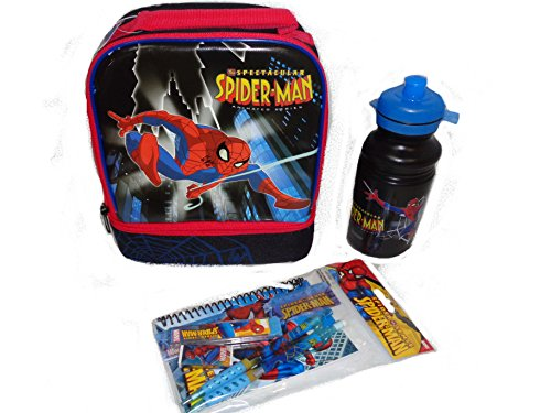 Kids Spiderman Double Compartment Lunch Bag Water Bottle and Stationary Set