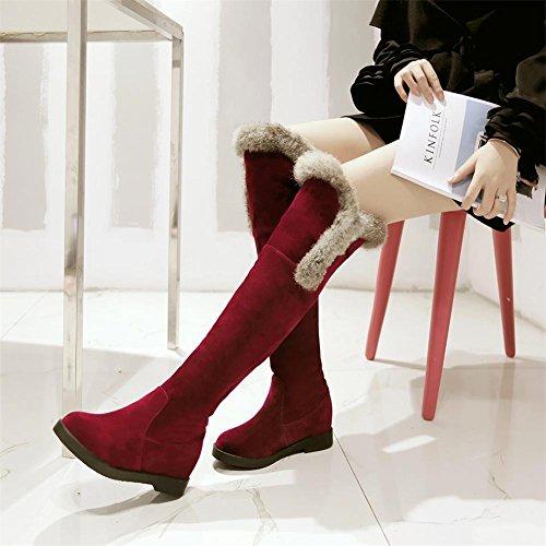Mujeres Rodilla alta Botas Nike Dunk Sky Hola Ante Cabeza redonda Plano Marrón oscuro Otoño invierno Al aire libre Red
