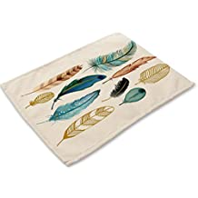 "YJ Bear Colorful Bird Feather Cotton Linen Placemats for Kitchen Washable Table Mats Non-slip Heat Insulation Dining Table Mats for Teacups Table Runner 16.5"" X 12.6"""