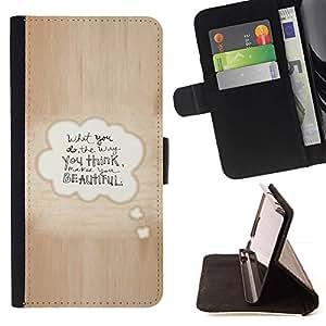For Samsung Galaxy S5 V SM-G900 Case , Hermosa cita del amor de la burbuja del texto de Brown- la tarjeta de Crédito Slots PU Funda de cuero Monedero caso cubierta de piel