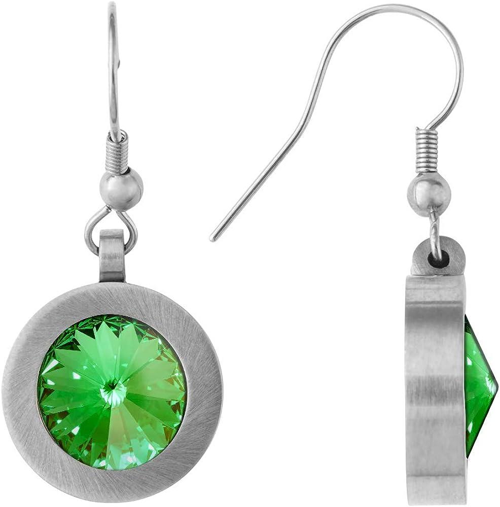 Heideman pendientes mujer de acero inoxidable color plata 925 mate Pendientes largos con Swarovski piedra verde