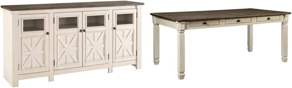 Signature Design by Ashley Bolanburg Extra Large TV Stand Two-Tone & Ashley Furniture Signature Design - Bolanburg Dining Room Table - Antique White