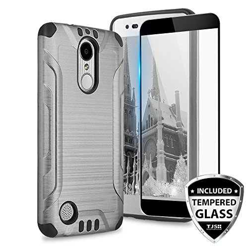TJS Case for LG Aristo 2/Aristo 2 Plus/Aristo 3/Aristo 3 Plus/Tribute Dynasty/Tribute Empire/Fortune 2/Rebel 3 LTE [Full Coverage Tempered Glass Screen Protector] Metallic Brush Phone Cover (Grey)