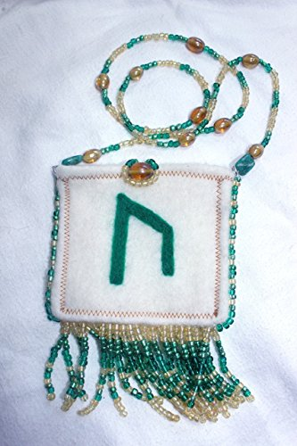 Wool Felted Beaded Amulet Bag With The Norse Rune URUZ For Health ()