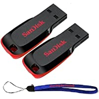 SanDisk Cruzer Blade 128GB (2 Pack) USB 2.0/3.0 Flash Drive Jump Drive Pen Drive SDCZ50-128G - w/ (1) Everything But Stromboli (tm) Lanyard