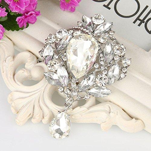 EVER FAITH Women's Austrian Crystal Elegant Leaf Teardrop Pendant Brooch Clear Silver-Tone Photo #5