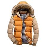 Tsmile Men Coat Plus Size Autumn Winter Men Boys Casual Warm Hooded Zipper Plush Collar Jacket Outwear Yellow
