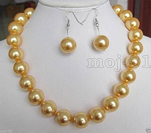 Genuine 12mm South Sea Gold Color Shell Pearl Round Beads Necklace Earring Set - Shell Beads Necklace Earrings