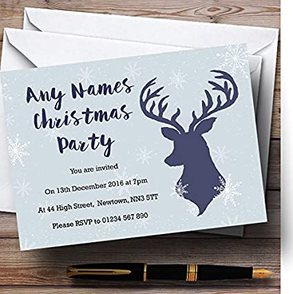 blue stag and snowflakes personalized christmasnew yearholiday party in