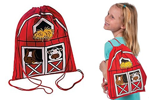 Fun Express Farm Animal Party barnyard drawstring backpacks - Set of 12