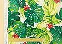 ハワイアン 生地【生成り】リアル プリント モンステラ ハイビスカス 柄 オックス 布 布地 手芸 おしゃれな大柄プリント。 パウスカートなどのフラダンス用品・衣装、カーテンやクッションカバーなどのインテリアなどにもオススメです。【1m単位】
