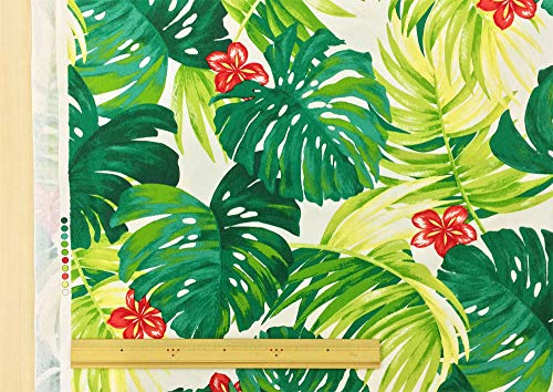 ハワイアン 生地【生成り】リアル プリント モンステラ ハイビスカス 柄 オックス 布 布地 手芸 おしゃれな大柄プリント。 パウスカートなどのフラダンス用品・衣装、カーテンやクッションカバーなどのインテリアなどにもオススメです。【1m単位】の商品画像