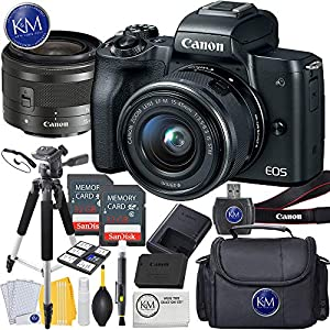 51xo66QAO6L. SS300  - Canon EOS M50 Mirrorless Camera w/15-45mm (Black) + 2 x 32GB + Deluxe Photo Bundle