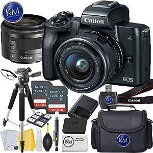 51xo66QAO6L. SS300  - Canon EOS M50 Mirrorless Camera w/15-45mm (Black) + 2 x 32GB + Deluxe Photo Bundle