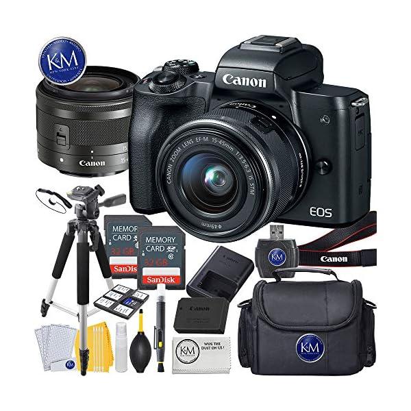 51xo66QAO6L. SS600  - Canon EOS M50 Mirrorless Camera w/15-45mm (Black) + 2 x 32GB + Deluxe Photo Bundle