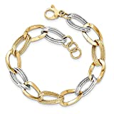 14k Two Tone Yellow Gold Link Bracelet 8 Inch Fine Jewelry Gifts For Women For Her
