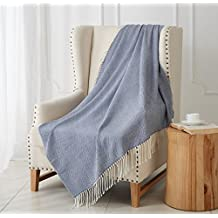"""MERRYLIFE Decorative Knitted Throw Blanket (Large) Sofa, Couch, or Bedroom Décor   Breathable Warmth, Plush Acrylic Fabric   50"""" x 60"""" Herringbone-Blue"""