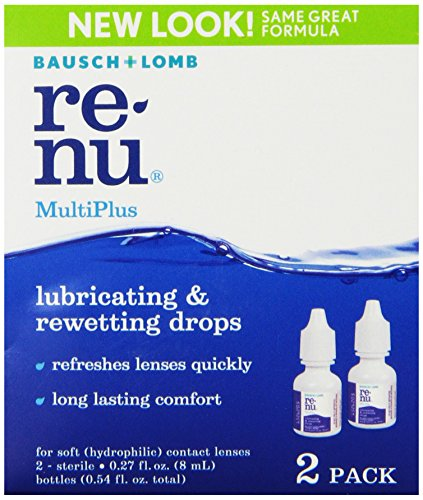 Rewetting Lens Drops (Bausch + Lomb ReNu MultiPlus Lubricating & Rewetting Drops, 0.27 Ounce Bottle Twinpack)