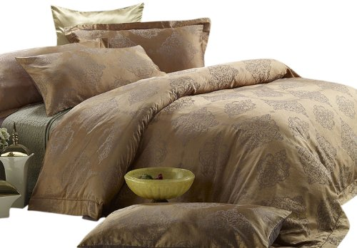 Dolce Mela DM444Q Golden Age 6-Piece Percale Jacquard Cotton Duvet Cover Set, (Jacquard Snap)