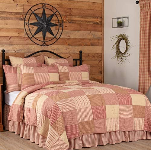 VHC Brands Sawyer Mill Red Bedding Accessory, California King Quilt 130×115