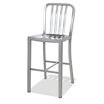 Beau CHAIR DEPOTS Kupa Stainless Steel Counter Stool, Satin Brushed Finish