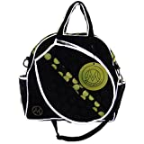 ModaMoo Womens Reflective, Lightweight and Durable, Water and Stain Resistant, Adjustable Crossbody Strap and Carry Handles Tennis Bag, Designed in New York, Black