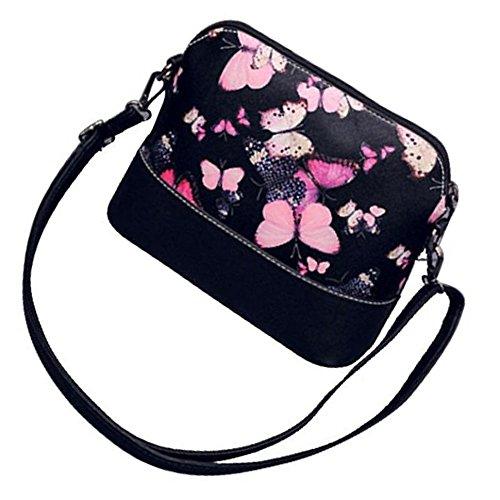 Mini Einzel Tasche Frauen SODIAL Umhaengetasche Schmetterlingsmuster Umhaengetasche Umhaengetasche Schwarz Beutel R qnBPfIxt