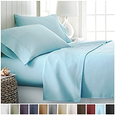 Queen Sheet Set by ienjoy Home Collection - Deep Pocket Bed Sheets - 100% Soft Brushed Microfiber Bedding - Queen, Aqua