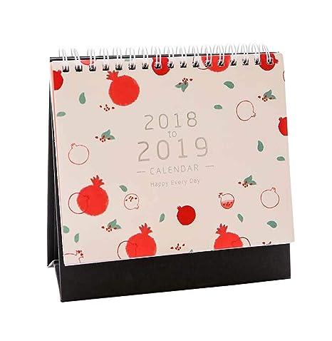 Calendario de mesa de escritorio Enero de 2018 a diciembre de 2018 Patrón de gato lindo