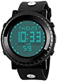 Fanmis Men's Digital LED Sports Watch Multifunctional Military Quartz Waterproof Casual LED Back Light with Simple Large Numbers 164ft 50M Water Resistant Calendar Day and Date Alarm Stopwatch Black