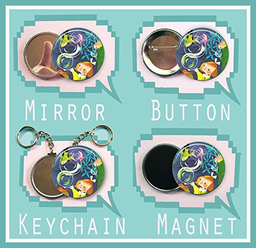"""Bubble Mary Blair Girl 2.25 inch button, magnet, pocket mirror or keychain 2 1/4"""" size"""