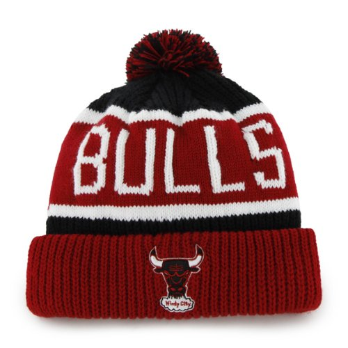 '47 Chicago Bulls Red Windy City Calgary Beanie Hat with Pom - NBA Cuffed Winter Knit Toque Cap