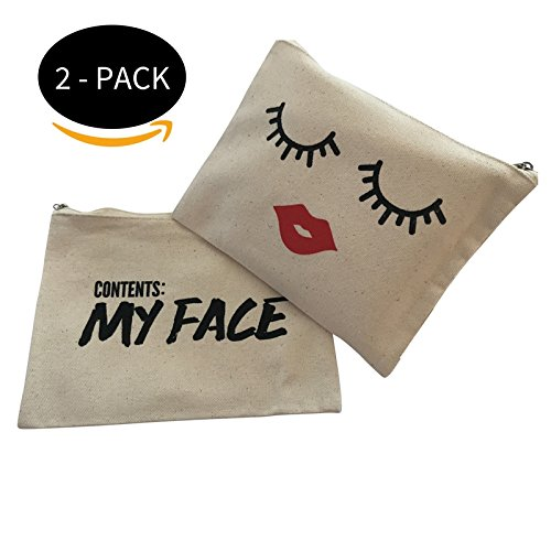 Cosmetic Makeup Bag - TWO PACK - Case for Make Up - Trend Clutch (Contains my face/lips and - Face Perfect Calculator