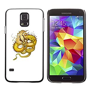 Plastic Shell Protective Case Cover || Samsung Galaxy S5 SM-G900 || Yellow Dragon Flying Serpent Moustache @XPTECH