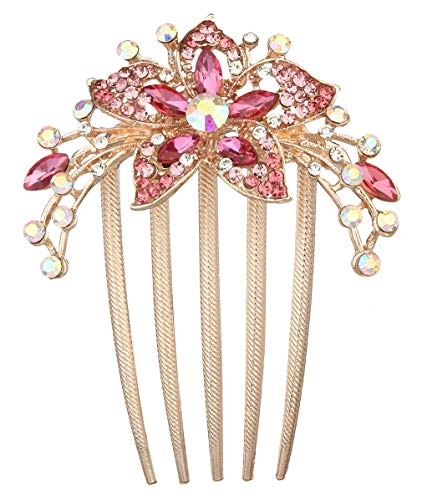 Vogue En Hair Flower - La Vogue Handmade Flower Crystal Rhinestone Hair Comb Gold Wedding Side Hair Clips Bridal Hair Accessories