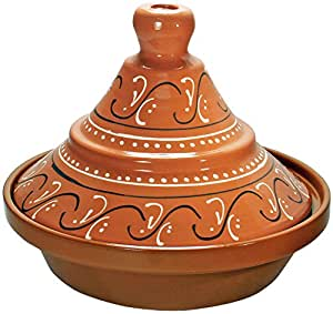 Reston Lloyd Hand Painted Natural Terra Cotta Tagine, 2-Quart, Marbela