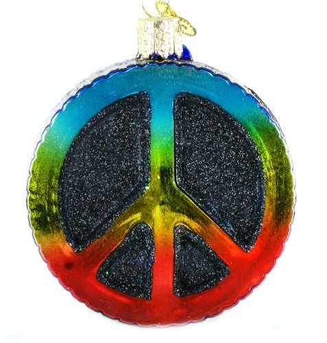 Old World Christmas Ornaments: Peace Sign Glass Blown Ornaments for Christmas Tree -