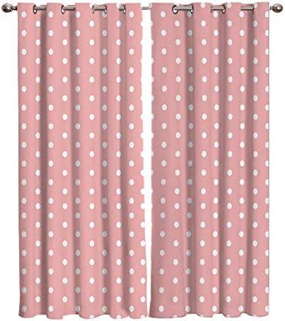 MOUPSDT Tende Oscuranti Termiche Isolanti Puntini Bianchi Rosa Tenda Occhielli Tende da Camera da Letto Soggiorno Moderne Tenda Cameretta Bambini 2 Pannelli 140x250cm