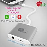 iPhone 7 Charger Plus Headphone Splitter - 3 in 1 Dongle TALK LISTEN & CHARGE Apple Jack Lightning Cable Adapter + 3.5mm Heaphone Plug FULL PHONE SUPPORT Keep Ur Headset w/ In-Line Mic & Music Control