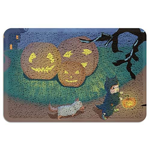 CHARMHOME Entrance Doormat Halloween Illustration Children Dog Pumpkin Lantern Indoor/Outdoor Doormat Rubber Shoes Scraper Non Slip Heavy Duty Front Entrance Door Mat Rug 18X30 Inch
