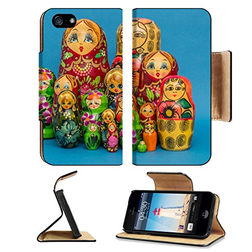 Luxlady Premium Apple iPhone 5 iphone 5S Flip Pu Leather Wallet Case iPhone5 IMAGE ID: 26078287 Russian wooden nesting dolls against a blue background