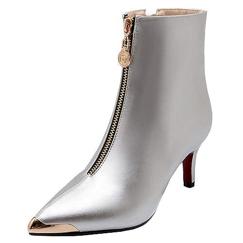 Melady Mujer Moda Tacones Aguja Botines Thin Tacones Altos Botas Bajas Puntiagudo Partido Botines Metálico Silver Tamaño 43: Amazon.es: Zapatos y ...