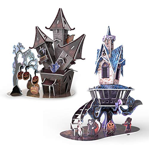 Halloween Decorations 3D Puzzles in 2 Styles- 89 Pieces for Kids Halloween Party Supplies, Game Prizes, Indoor Decorations,Gifts and More -