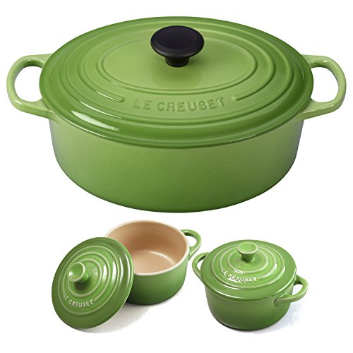 Le Creuset Signature Palm Enameled Cast Iron 5 Quart Oval French Oven with 2 Free Stoneware Cocottes