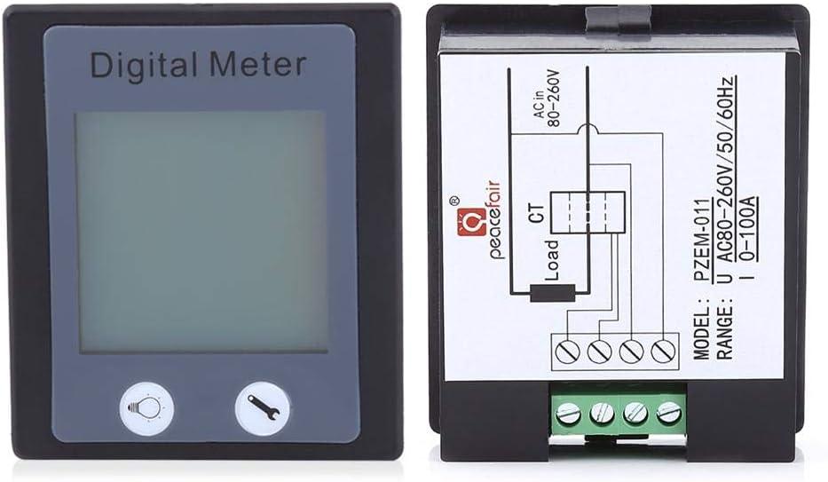 80-260V Multim/ètre de Surveillance AC 100A Amp/èrem/ètre Voltm/ètre /Énergie Tension Courant Testeur /Électrique Avec CT