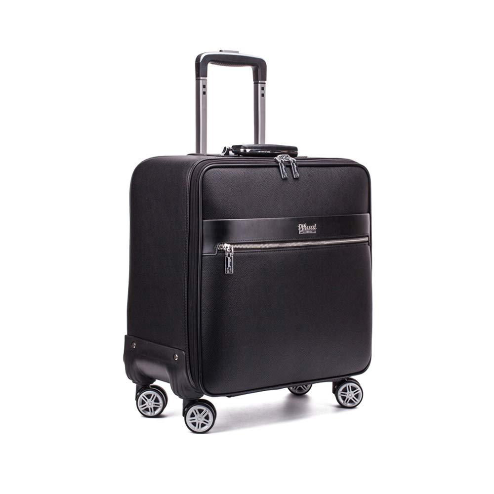 ソフトPUレザー旅行スーツケース、4スピナーホイール付きジッパーローリング荷物、大容量パスワードビジネス荷物、男性女性用キャリーオン,16inch B07TFFX3J4  16inch